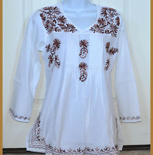 Brown Embroidered White Cotton Tunic Top Kurti Long Sleeve Blouse from India