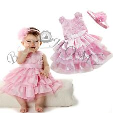 Flower Girl Princess Dress Kid Baby Party Pageant Dresses Rosette&Headband Pink