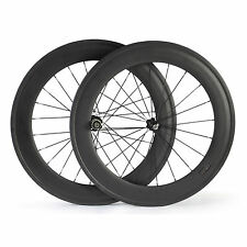 Front 50mm+Rear 88mm Clincher Tubular Carbon Wheels Road Bike Bicycle Wheelset