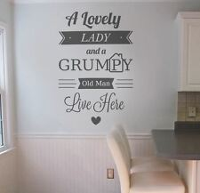 A Lovely Lady and a Grumpy Old Man Wall Sticker Decal Art Inspirational Vinyl