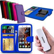 For Celkon A115 - Clip On PU Leather Wallet Case & Powerbank