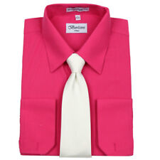 Men's Formal French Cuff Tie Set Fuchsia Business Shirt & White Tie By Berlioni