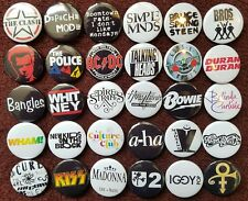 80's Music Button Badges (Collection 2).  25mm in Size. :0)