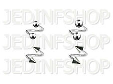 Twisted Barbell Spiral Ring - 1.6mm (14g) - 6mm - Stainless Steel Balls Spikes