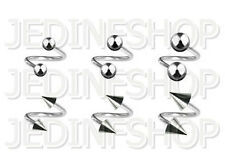 Twisted Barbell Spiral Ring - 1.6mm (14g) - 8mm - Stainless Steel Balls Spikes
