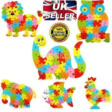 Kids Baby Wooden Wood Animal Puzzle Numbers Alphabet Learning Educational Toy-UK