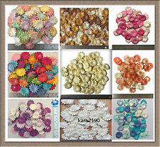 100 X Mulberry Paper Daisy Flowers Embellishment Cardmaking Scrapbooking 25mm/1""