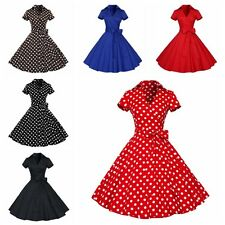 50s 60s Retro Hepburn Womens V-Neck Swing Lapel Rockabilly Housewife Pinup Dress