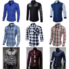 New Mens Fashion Luxury Casual Slim Fit Stylish Long Sleeve Dress Shirts Tops PF