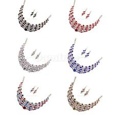 Fashion Crystal Rhinestone Wedding Bridal Statement Necklace Stud Earrings Set