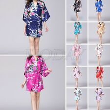 Women Silk Satin Peacock Kimono Robe Gown Wedding Bridesmaid Sleepwear Bathrobe