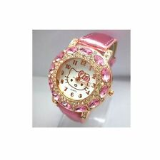 Cute Hello Kitty Watch Children Women Fashion Crystal Dress Quartz Wristwatch