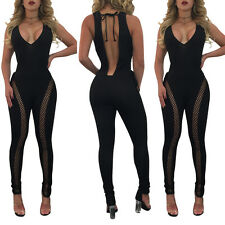 Women V-neck Sleeveless Backless Vest Jumpsuit Hollow Out Club Party Long Romper