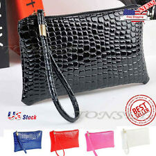 NEW US Women Shoulder Bag Crocodile Leather Clutch Messenger Handbag Coin Purse