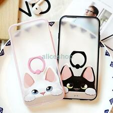 For iPhone 7 7 Plus 6 6S Plus Lovely Cat Matte Anti-Drop Finger Rings Case Cover