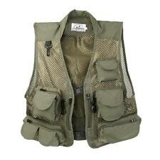Men Multi-Pocket Fishing Hunting Mesh Vest Outdoor Photography Jacket Army Green