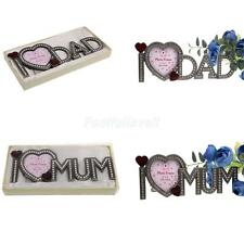 Crystal Rhinestone Home Decor Alloy Photo Frame Picture Frame I Love Mum/Dad