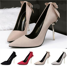 Fashion Women Cute Bowknot High Heels Shoes Lady Metal Stiletto Point Toes Pumps