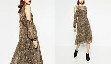 ZARA MID-LENGTH PRINTED DRESS FLOWING MIDI NEW CUT OUT OFF THE SHOULDER SLEEVES