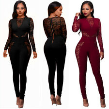 Women Lace Long Sleeve Bodycon Stitching  Evening Party Clubwear Jumpsuit&Romper