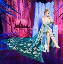 FJ888 Movies Frozen Snow Queen Elsa Cosplay Costume top palace dress tailor made