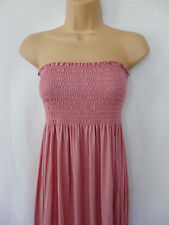 BNWT BOOHOO New Ladies Bandeau summer boob tube light pink Jersey maxi dress 12