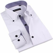 White Mens Non-iron Long sleeve Lapel Slim Fitted Business Casual Dress Shirt