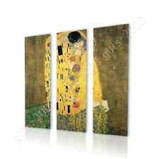 Alonline Art - CANVAS (Rolled) The Kiss Gustav Klimt 3 Panels Artwork Paintings