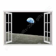 Alonline Art - CANVAS (Rolled) Planet Earth From Moon Fake 3D Window Oil Paints