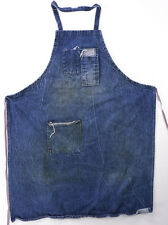 Vintage Dark Blue DENIM Bib Shop Apron Workshop Handmade Tool Pockets Machinist