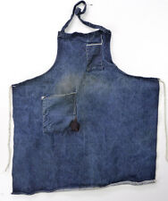 Vintage Dark Blue DENIM Bib Shop Apron Workshop Handmade Tool Pockets Well Worn