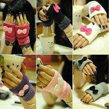 Beauty Women Warm Sweet Bow Half Finger Gloves Computer Knitted Gloves Bowknot