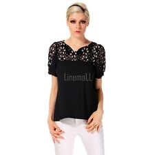 Womens Lace Splice Crochet  Short Sleeve V-Neck Shirt Blouse Tops T-Shirt LM