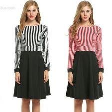 Women Long Sleeve Striped Patchwork Fit and Flare Swing Dress BLLT
