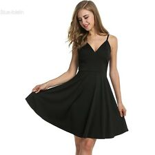 Meaneor Women Strap Pleated Dress High Waist V-neck Solid Casual Party Knee BLLT
