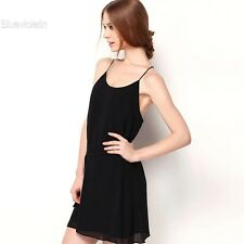 Women Fashion Elegant Casual Sexy Chiffon Round Neck Sleeveless Backless BLLT