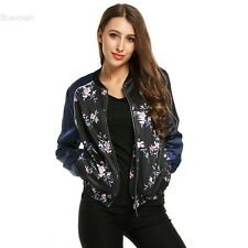 Women's Long Sleeve Stand Collar Zip Up Floral Print Casual Bomber Jacket BLLT