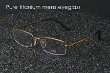 Pure Titanium half Spectacles Eyeglass Frame Men Glasses RX Eyeglasses eyewear