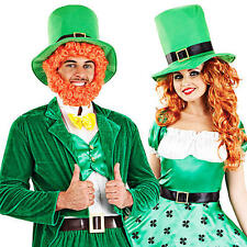 Leprechaun + Hat Adults Fancy Dress St Patricks Day Irish Ladies Costumes Outfit