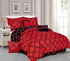 Galaxy 7-Piece Comforter Set Reversible Soft Oversized Bedding Black & Red