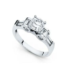 14k Yellow OR White Gold Round Solitaire CZ Engagement Ring Anniversary CZ Band