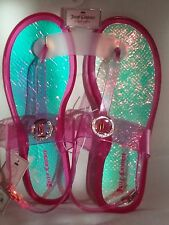 New Adorable Juicy Couture Pink Jelly T-Strap Sandals Size L