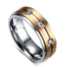 316L Stainless Steel Promised CZ Band Gold Plated Wedding Couple Rings Size 5-13