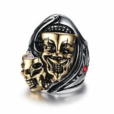 Skull Gothic Punk Stainless Steel Biker Ring Mens Cool Gold Band Sz 8/9/10/11/12
