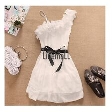 Women Off One Shoulder Sweet Pleated Party Chiffon Dress LM01