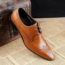 classic Mens Lace up Wing Tip Real Leather Dress Shoes Formal Brogues New Size Y