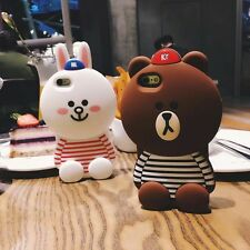 Cute 3D Silicone Brown Bear & Pink Bunny Silicon Soft Case For iPhone/OPPO/Vivo