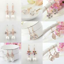 Fashion Women Gold Plated Zircon Crystal Flower Leaf Drop Dangle Hoop Earrings