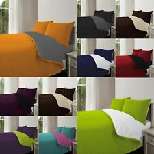4PC Complete Reversible Duvet Quilt Cover With Fitted Sheet & Pillowcase UK SIZE