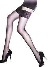 New Ladies Black Sheer Hold Up Lace Top Thigh High Stockings Tights One Size